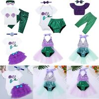 Newborn Baby Girl Sequins Mermaid Romper Tops+Shorts Headband Outfits Clothes