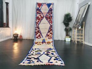 Boujad Moroccan Handmade Vintage Runner 2'7x12'2 Geometric Green Berber Wool Rug