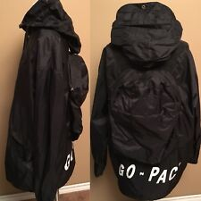 Go PAC Packable Black Size L Rain Jacket Hoodie LightWeight Woman 100% Nylon EUC