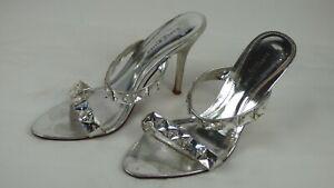 Karen Millen Shoes Silver Strappy Heels Mules Crystals Embellished EU 37 UK 4