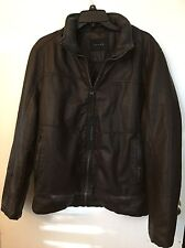 Tahari Men's Faux Leather Bomber Jacket Size Medium Brown Color NWT