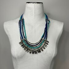 Multistrand blue bead necklace aztec style natural boho earthy