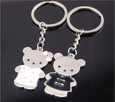 1 Pair Couple White&Black Enamel Cute Teddy Bear Keyring Keychain Valentines Day