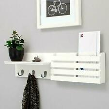 "24"" Hanging Entryway Floating Storage Shelf Wall Mount Shelves Coat Rack +3Hooks"