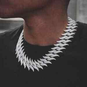 """Spiked Cuban Link Mens 24""""inch Chain 14k White Gold Over Round Cut Diamond"""