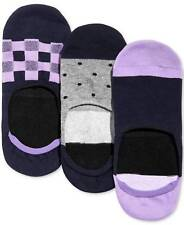 Set of 3 BAR III Purple No Show Non Slip Heel Liner Socks **NEW Men's Size 10-13