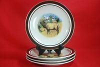 """Cabelas BUGLING ELK Salad Plates Set of 4 By Folkcraft 8-3/4"""""""