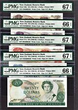 New Zealand 1989 MATCHING 1st Prefix LOW 000240 $1 to 20 GEM UNC PMG 66 / 67 EPQ