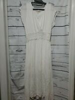 WAYF Dress Flowy Blouson Midi Ivory Womens Size Medium Dress NEW