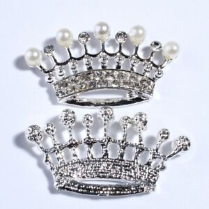 12PCS 24*45MM Vintage Fashion Crown Shape Rhinestone Buttons With Ivory Pearls