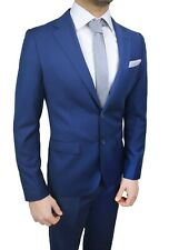 Men's Suit Coordinate Blue Jacket Trousers Tie Clutch Bag Set Sartorial