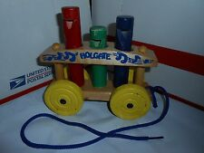RARE VTG HOLGATE WOODEN CALLIOPE MUSIC PEG WHISTLE PULL TOY KANE PA