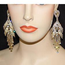 "Gold Clear Crystal Teardrop Dangle Earrings Drag Queen Pageant Clip On 4.5"""