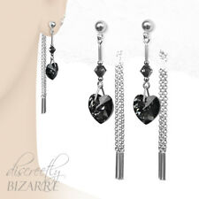 Sterling Silver Swarovski Grey Crystal Heart Long Chain Drop Front Back Earrings