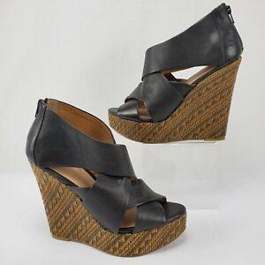 "ALDO 40 Black Leather Criss Cross Woven Straw 5.5"" Wedges Women's Size 9"