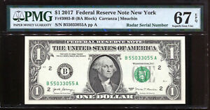 2017 $1 Federal Reserve Note with Fancy RADAR Serial # PMG Gem Unc 67EPQ