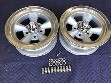 Vintage Pair Real Mt 5 Spoke Torque Thrust Polished Lip 14x6 4 34 Chevy
