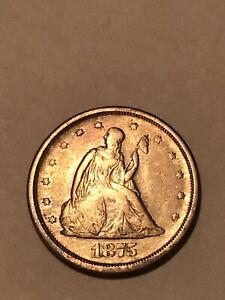 = 1875-S XF TWENTY Cent PIECE, Nice Details, Toned, Full Liberty