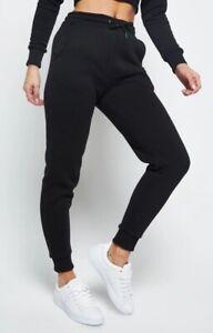 SikSilk Track Pants UK 8 Running Gym Joggers Sweatpants Black SSW-2127 (RRP:£45)