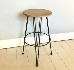 Brunel breakfast bar stool, rebar metal with wood seat, 72cm fixed height