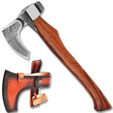 Hand Forged Viking Axe Sharp Etched Carbon Steel Head Wood Handle & Sheath '