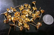 40 Gold plated post pierced earring findings 8mm cupped pad glue solder fpe084