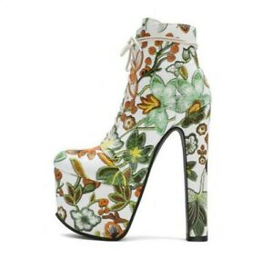 17Cm Super High Heel Platform Women Nightclub Ankle Boots with Floral Embroidery
