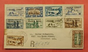 1942 ST PIERRE & MIQUELON FRANCE LIBRE OVPT REGISTERED TO CANADA WWII CENSORED