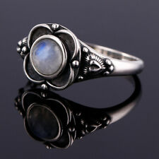 Vintage 925 Silver Natural Rainbow Moonstone Round Antique Ring Wedding Jewelry6