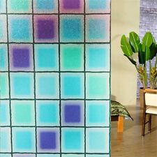 45x100cm Blue Shaped Glass Removable Static Window Sticker Bathroom Slide Door