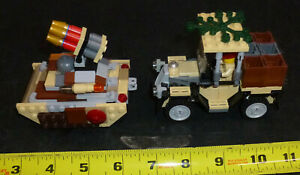 LEGO Military MOC 1 Tank type Vehicle 1 Jeep lot of 2 - 1 minifigure included