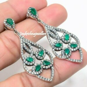 Radiant Pave Diamond Earring 925 Sterling Silver Green Emerald Gems Earring