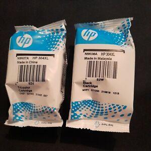 GENUINE/NEW 1 HP 304XL BLACK & 1 HP 304XL TRI-COLOUR INK CARTRIDGES(EXPIRY 2024)