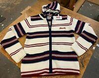 Le Tigre Hoody Sweater striped 80's Style Men's Maroon Navy knit Zip New w Tags