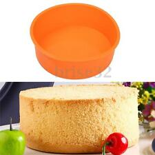 7'' Round Silicone Cake Mold Pan Muffin Chocolate Pizza Pastry Baking Tray Mould