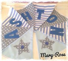Baby Boy Personalised Name BUNTING Grey White, Stars Blue Luxury/designer fabric