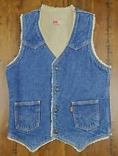 Vintage Levis 70's Sherpa Lined Denim Vest Size Small Jean Orange Tab USA Made