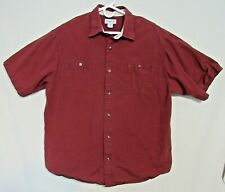 Carhartt Short Sleeve Solid Button Up Red Shirt with Chest Pockets Shop Shirt
