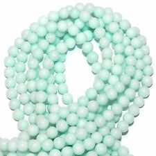"GR876ca Light Blue-Green Amazonite 8mm Smooth Round Malay Jade Gemstone Bead 15"""