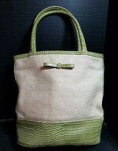 Estee Lauder Tote Hand Makeup Bag Green And Beige