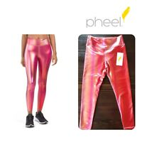 PHEEL Women's Spirt Ombre LEGGINGS Iridescent SHINY S/M Spandex PINK High Waist