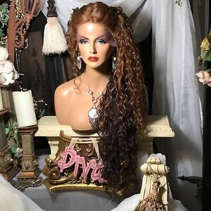 """GORGEOUS BIG HAIR!  32"""" Auburn Brown To Darker Brown Lace Front W/PartSpiral Wig"""