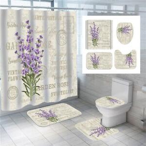 3D Lavender Flower Bathroom Shower Curtain Bath Mat Toilet Cover Rugs Decor Set