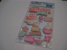 Scrapbooking Stickers Paper House 3D Sweet Birthday Girl Title Cake Cupcakes