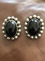 VTG Estate Taxco Mexico Sterling Silver & Black Onyx Pierced Earrings! TS-79