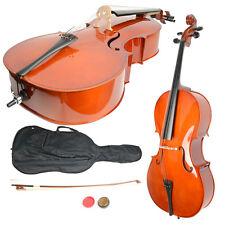4/4 Size Handcrafted Basswood Retro Cello Bag Bow Rosin Bridge