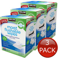 3 x KIRKLAND SIGNATURE MOIST FLUSHABLE WIPES 632 WET WIPE CLEANSING HYGIENE CARE