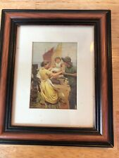Vintage Small Wall Picture Fisherman Wife Mother and Child