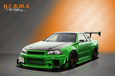 Nissan Skyline R34 GTR Style Rear Fenders +50mm for Wide Body Conversion V6