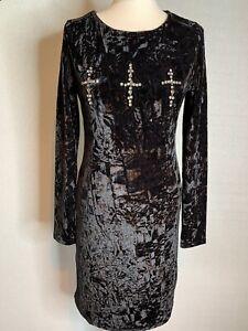 Brave Soul Ladies Black Crushed Velvet Pencil Dress with Diamanté  Size M (c2)